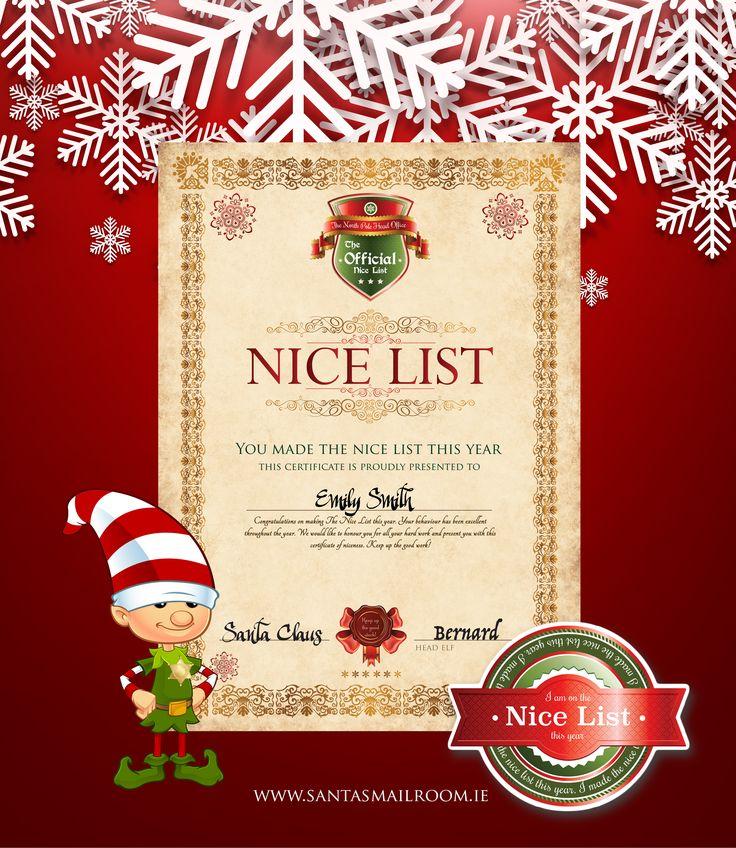 23 best santa nice list images on pinterest christmas for Nice list santa letter