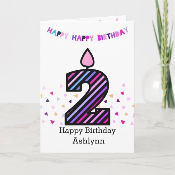 Pink And Purple Happy 2nd Birthday Card Zazzle Com Birthday Cards Happy 2nd Birthday Birthday Cards For Her