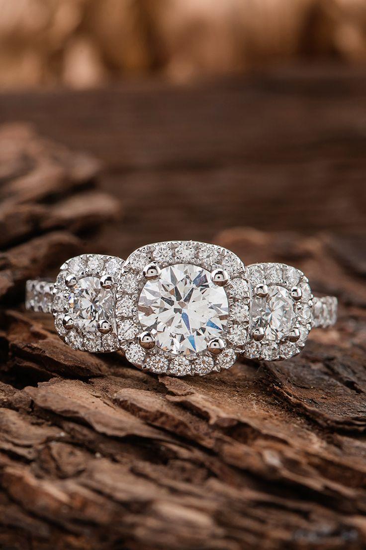 How perfect is this three-stone diamond engagement ring?! #ShaneCo #ShaneCoSparkle