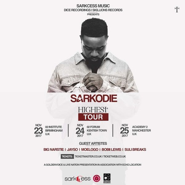 Following the successful release of his fifth studio album Highest which dominated iTunes album charts around the world, Sarkodie is proud to announce that he will be embarking on a UK nationwide 'Highest' tour in November, with some special guests including Big Narstie, Jayso, Moelogo, Bobii Lewis and Suli Breaks.   #Sarkodie #Sarkodie to embark on 'Highest' UK nationwide tour in November #to embark on 'Highest' UK nationwide tour in November