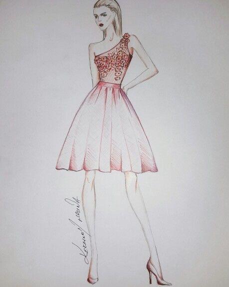 Fashion sketch red dress flowers