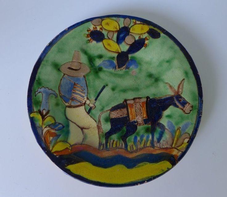 "Vintage 1940 washy green Mexican Tlaquepaque BALBINO LUCANO plate 5 3/8"" diam. | eBay"