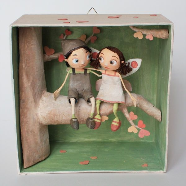 Chloe Remiat ||| papier mache, paper, shadow, box, diorama, vignette, scene, sculpture, illustration