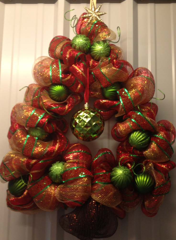 Rockin' Around the Christmas Tree Red Green & Gold Tree Wreath. $65.00, via Etsy.