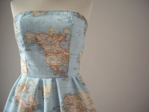 World Map Printed Strapless Cotton Summer Dress by CruelCandy Super cute! Maybe a little too girly / young for me... but super cute...
