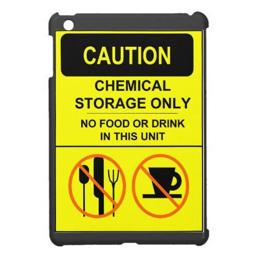 Caution sign funny humor no food or drink inside iPad mini covers