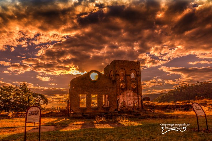 Blast Furnace Park - Lithgow  ||  Sunset in Lithgow over Australia's First Iron and Steel making factory. These ruins are all that remain of a Blast Furnace which was instrumental in todays Iron and Steel industry, which relocated around 1930 to Port Kembla.  The sunshine was almost orange in colour as it set over the site, making everything a golden haze.. Just stunning…