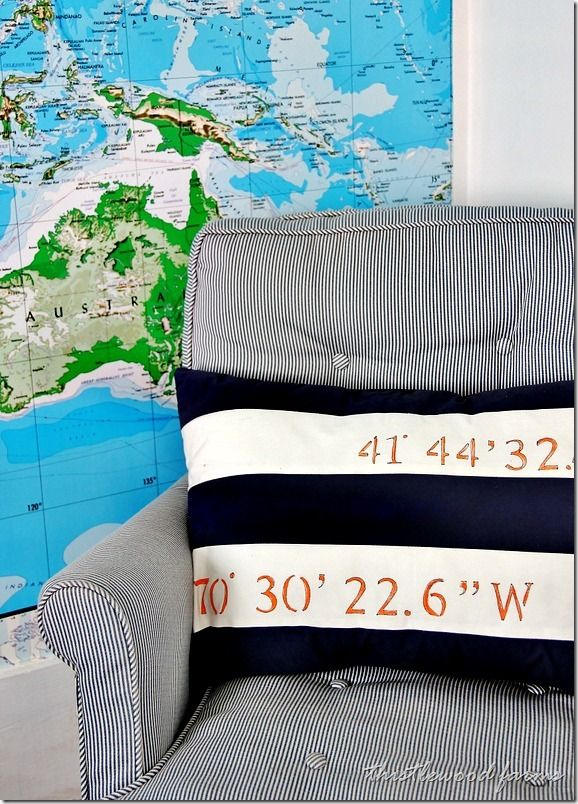 find the coordinates of a favorite place on earth (use google maps) and stencil it on a pillow.  Cute.  lct