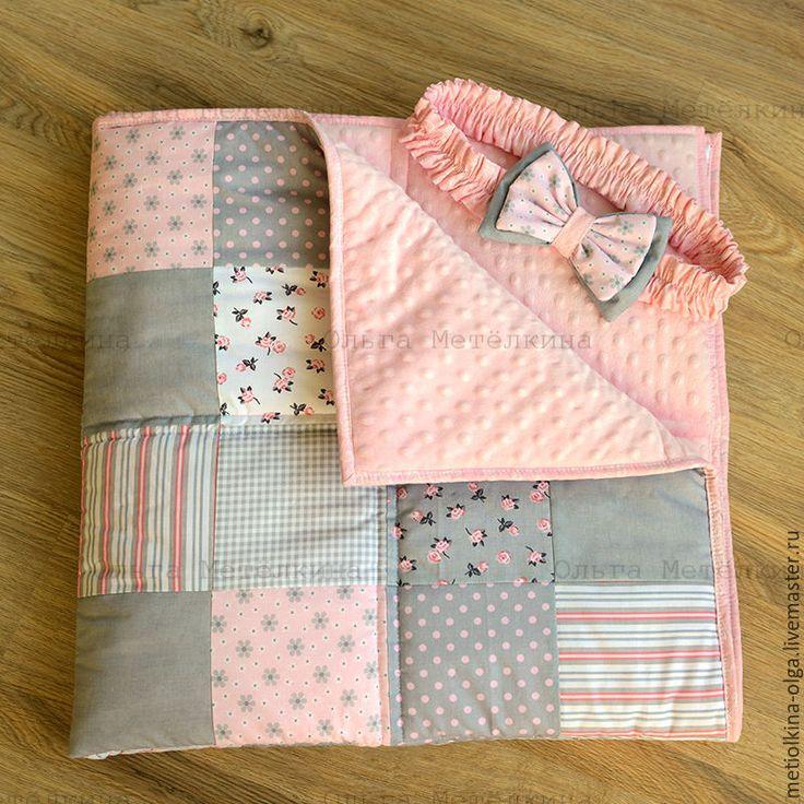 Купить Детское лоскутное одеяло - конверт на выписку - розовый, одеяло пэчворк, одеяло, одеяло детское