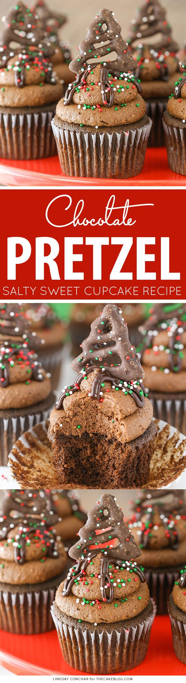 Chocolate Pretzel Cupcakes - salty sweet holiday cupcake | Lindsay Conchar for TheCakeBlog.com