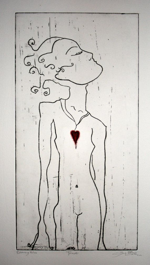 TRUST. Exclusive Etching. Printed, Signed by artist. Limited numbers. on Etsy, kr1600,00