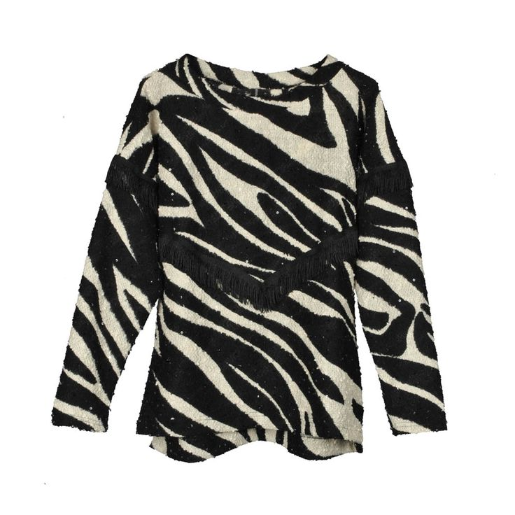 Sweater de mujer lanilla flecos, zebra