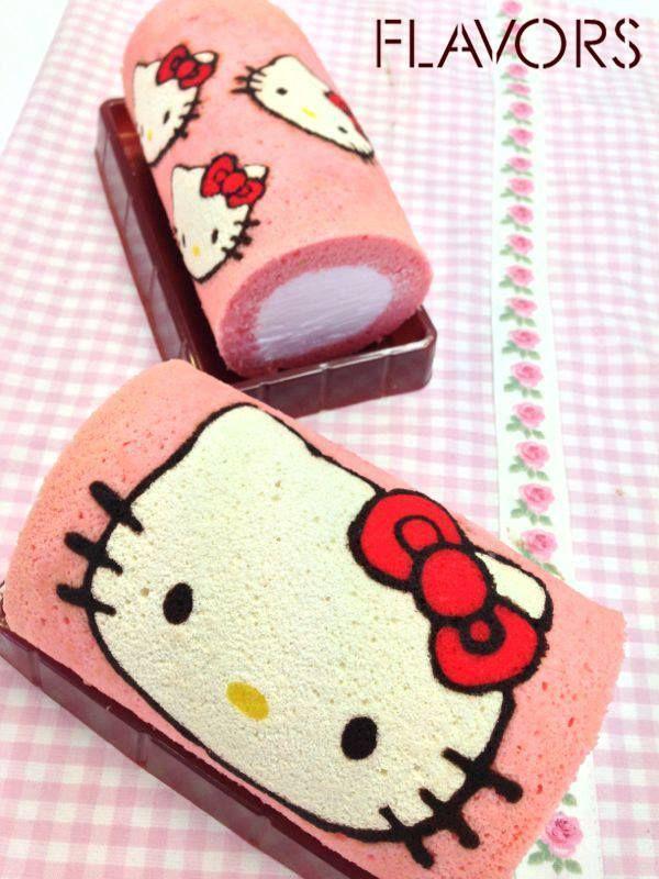 Pink Hello Kitty cake rolls <3 <3