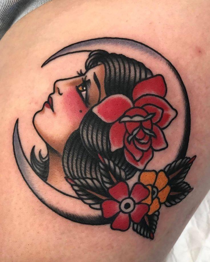 Moon Girl by @jon_ftw at @tradition_tattoo_brisbane in   Brisbane Australia. #moon  #girl #flowers #jonftw # jon_ftw #tradition_tattoo_br  isbane #traditionaltattoobrisbane #brisbane #australia #tattoo # tattoos #tattoosnob