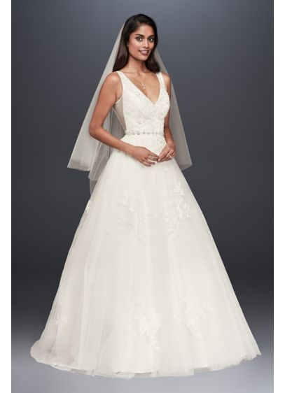 Mikado and Tulle V-Neck Ball Gown Wedding Dress WG3877