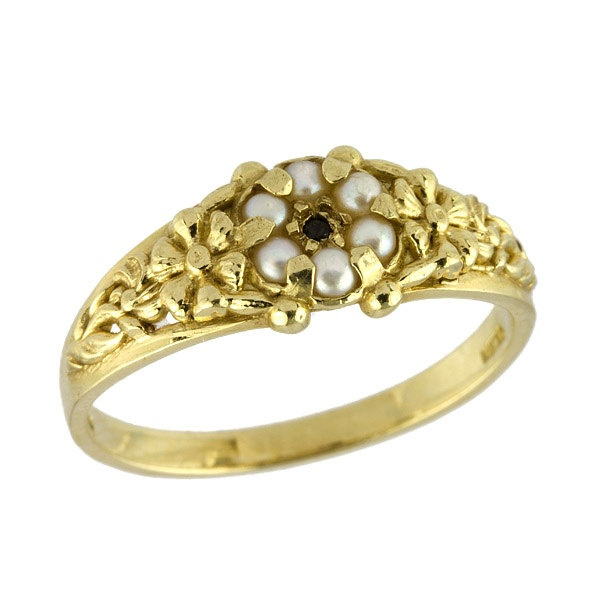 Antique Style Black Diamond Pearls Wedding Band in 14k Yellow Gold. $360.00, via Etsy.