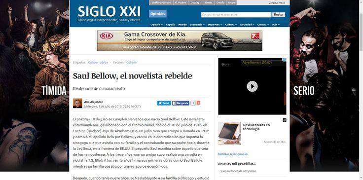 """ARTÍCULO """"SAUL bELLOW, EL NOVELISTA REBELDE""""."""