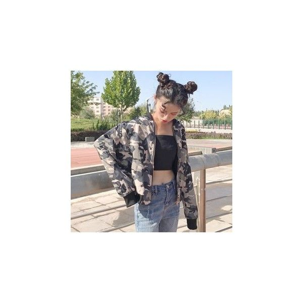 Camo Bomber Jacket ($23) ❤ liked on Polyvore featuring outerwear, jackets, women, blouson jacket, camoflauge jacket, camouflage bomber jacket, camo bomber jacket and camo jackets