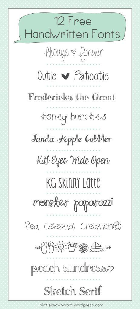 12 Free Handwritten Fonts