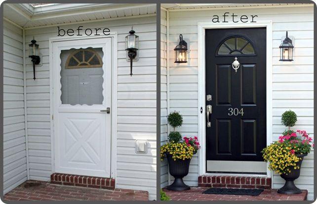 front doorThe Doors, Black Doors, Doors Makeovers, Black Front Doors, Curb Appeal, Screens Doors, House Numbers, White House, Screen Doors