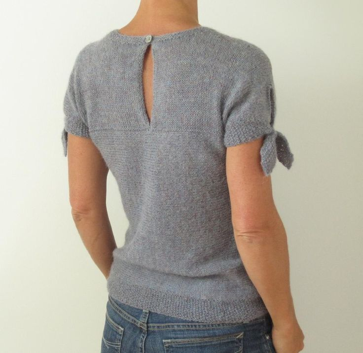 Raindance This T-shirt is simple in appearance, but constructed in an unusual way, the lower body is worked side to side and the yoke is picked up directly from the body and uses a 3 needle bind off to connect the pieces at the back. There is no seaming!