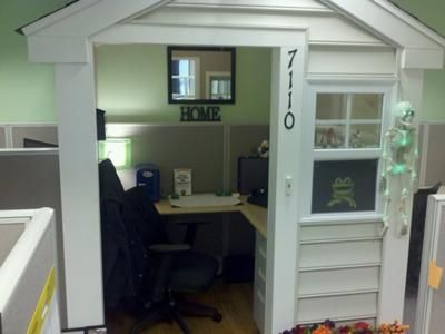 A cubicle turned into a house! Check out some more funny cubicle houses: http://blog.neosusa.com/2011/11/a-home-away-from-home-your-cubicle/