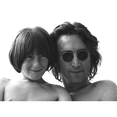 John Lennon with his son Julian Lennon.