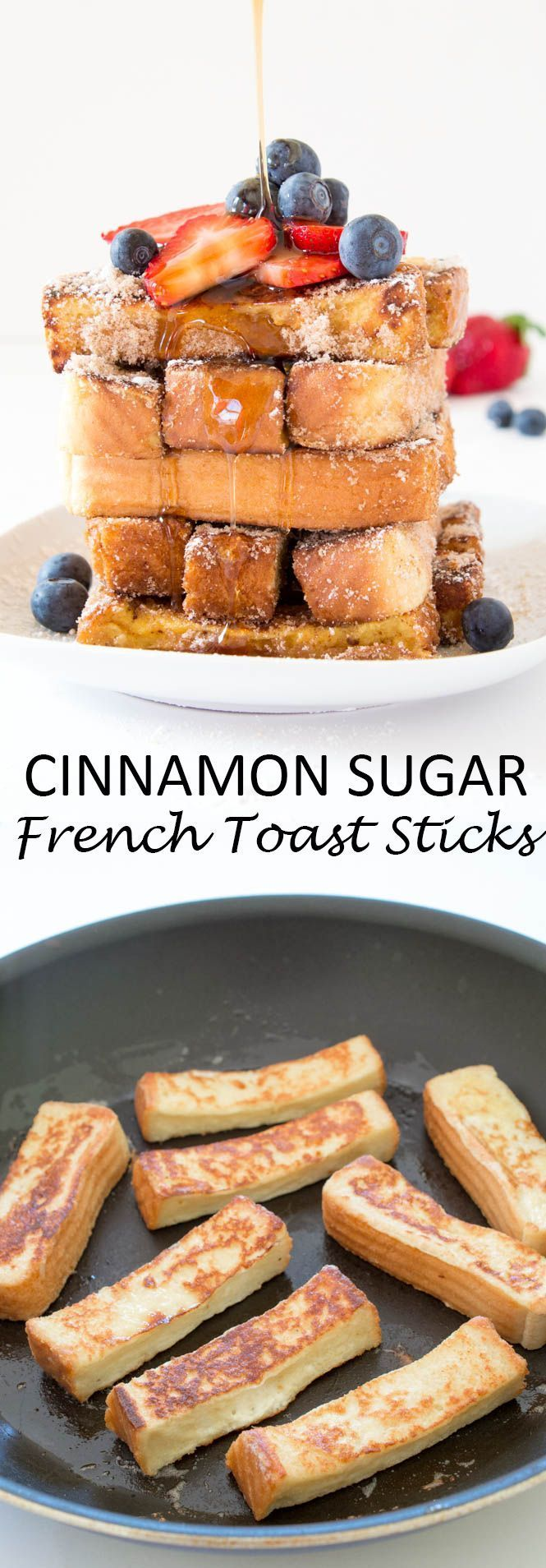 Super Easy Cinnamon Sugar French Toast Sticks. They take less than 15 minutes to make and are so much better than store-bought! Caramelized on the outside and fluffy on the inside!