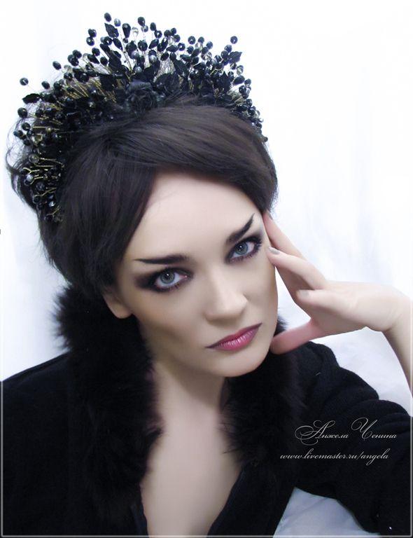 """Купить Диадема """"Царица черных роз"""" - диадема колдуньи готика, готическая диадема, готическая тиара"""