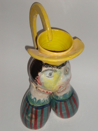 Michaela Klockner     Yellow Hat - 2011/2012     Wheel thrown + assembled low fired ceramic     36 x 28 cm