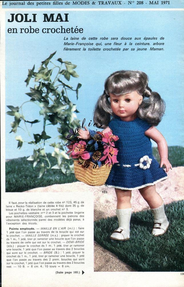 Page Poupée CROCHET Modes et Travaux , Mai 1971 Marie Françoise