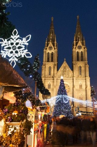 Christmas market and neo-gothic Church of St. Ludmila, Mir Square, Prague, Czech Republic