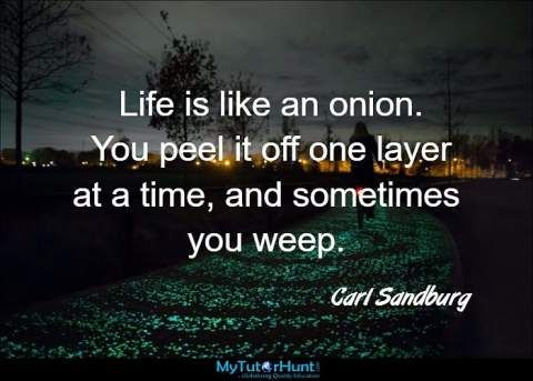 "Life is like an onion. You peel it off one layer at a time, and sometimes you weep. ""Carl Sandburg"""