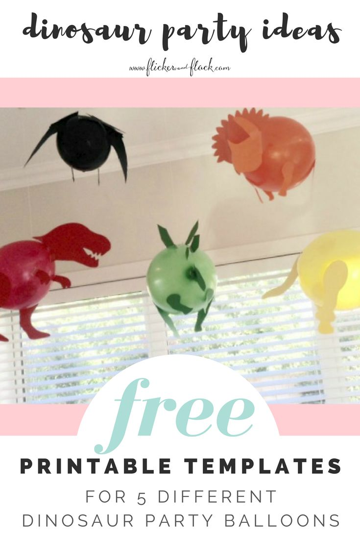 free printable templates to make 5 different dinosaur balloons amazing decoration for a kids dino