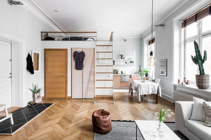 Studio apartment with loft bed Follow Gravity Home: Blog - Instagram - Pinterest - Bloglovin - Facebook
