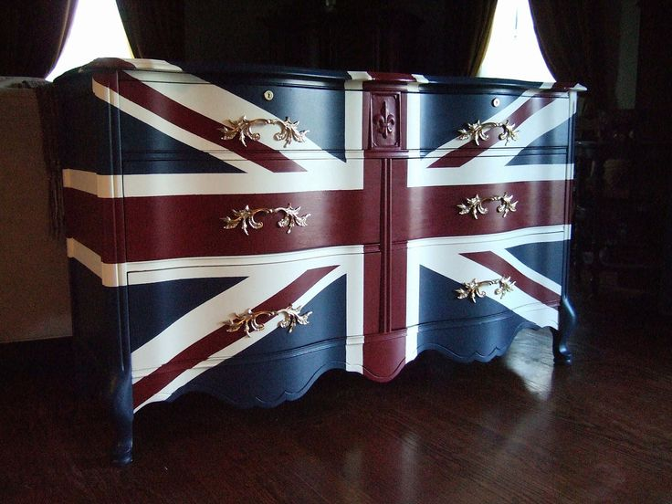 "French Provincial ""Waving"" Union Jack Dresser- paint ideas for ikea dressers w/ new drawer pulls"