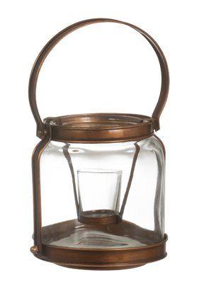 Copper Lantern Votive Holder  Votiveholder i kopparfärgad metall och glas i vintagestyle. Mått: höjd. 180 x b 165 x d 165 mm