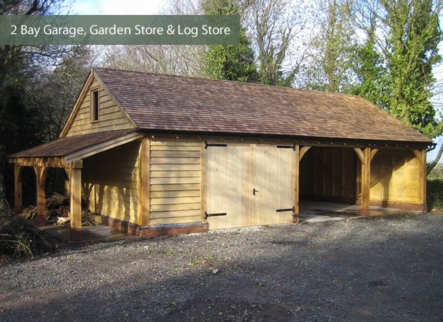 Wooden garage, wooden carport and a shelter for firewood in one place :) Very practical decision. :)) More wooden garages at quick-garden.co.uk/wooden-garages-aluminum-carports.html