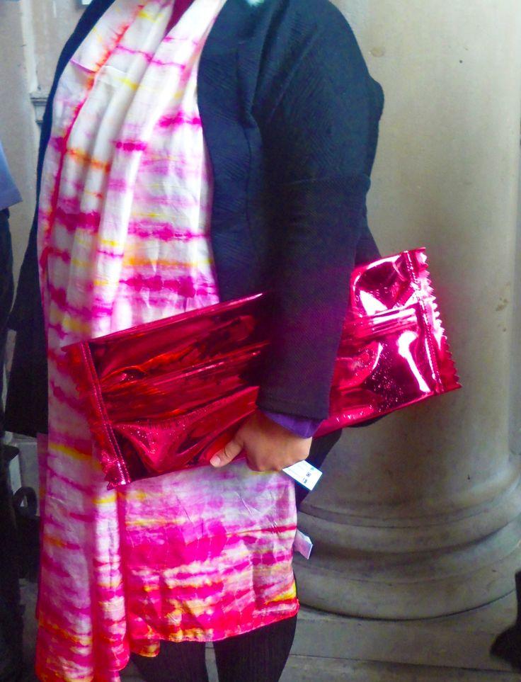 That's a sweet bag! #bag #pink #metallic #fashion #tiedye #scarf #orange #london #somersethouse #fashionweek