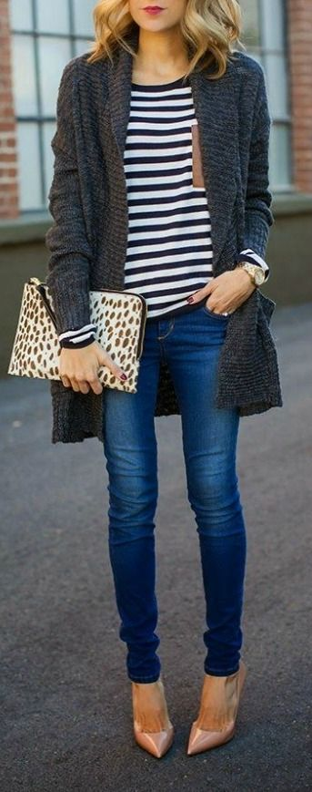 Stripes + printed clutch.