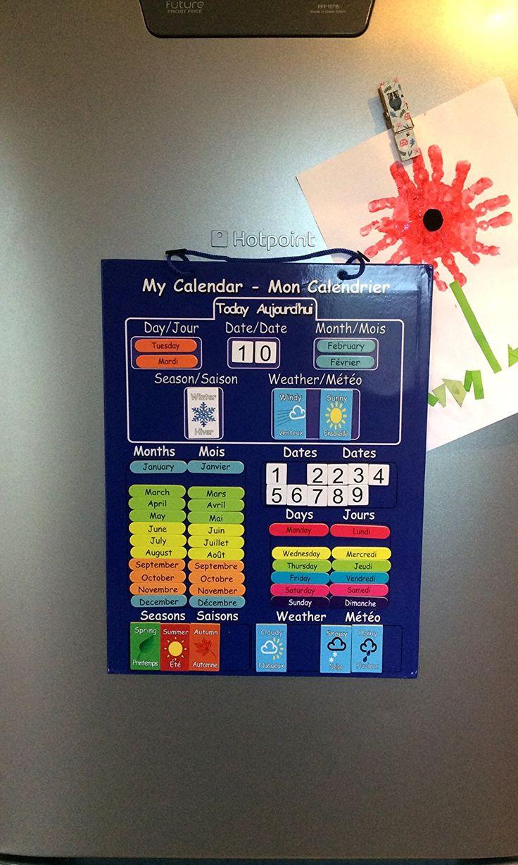 El primer y único CALENDARIO DE BILINGÜE NIÑOS ! Calendario magnética para la Educación en francés e Inglés . Rígido bordo con el imán para colgar en la nevera o cordón para colgar en la pared.: Amazon.es: Juguetes y juegos