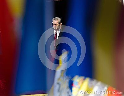 King Mihai I of Romania appears at the balcony of Elisabeta Palace in Bucharest, Romania, during the Open Doors Event organised by the Romanian Royal Family on 8 November 2013.