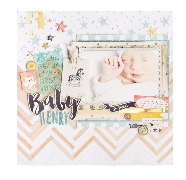 Baby Henry scrapbook layout by Maggie Holmes for Crate Paper
