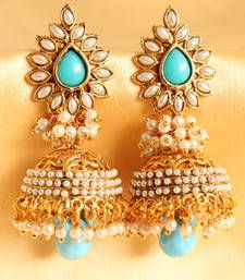 Buy Gorgeous  antique pearl cluster sky blue  jhumkka jhumka online