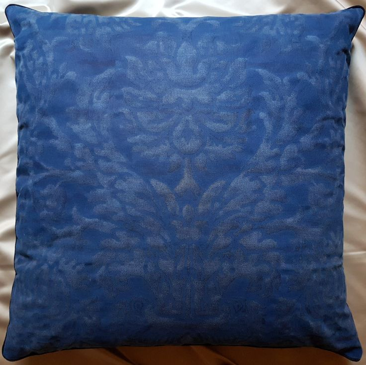 """24"""" x 24"""" Fortuny Fabric Throw Pillow Cover Barberini Blue Navy Monotones Texture Backed Dominique Kieffer Patte de Velours - Made in Italy by OggettiVeneziani on Etsy"""
