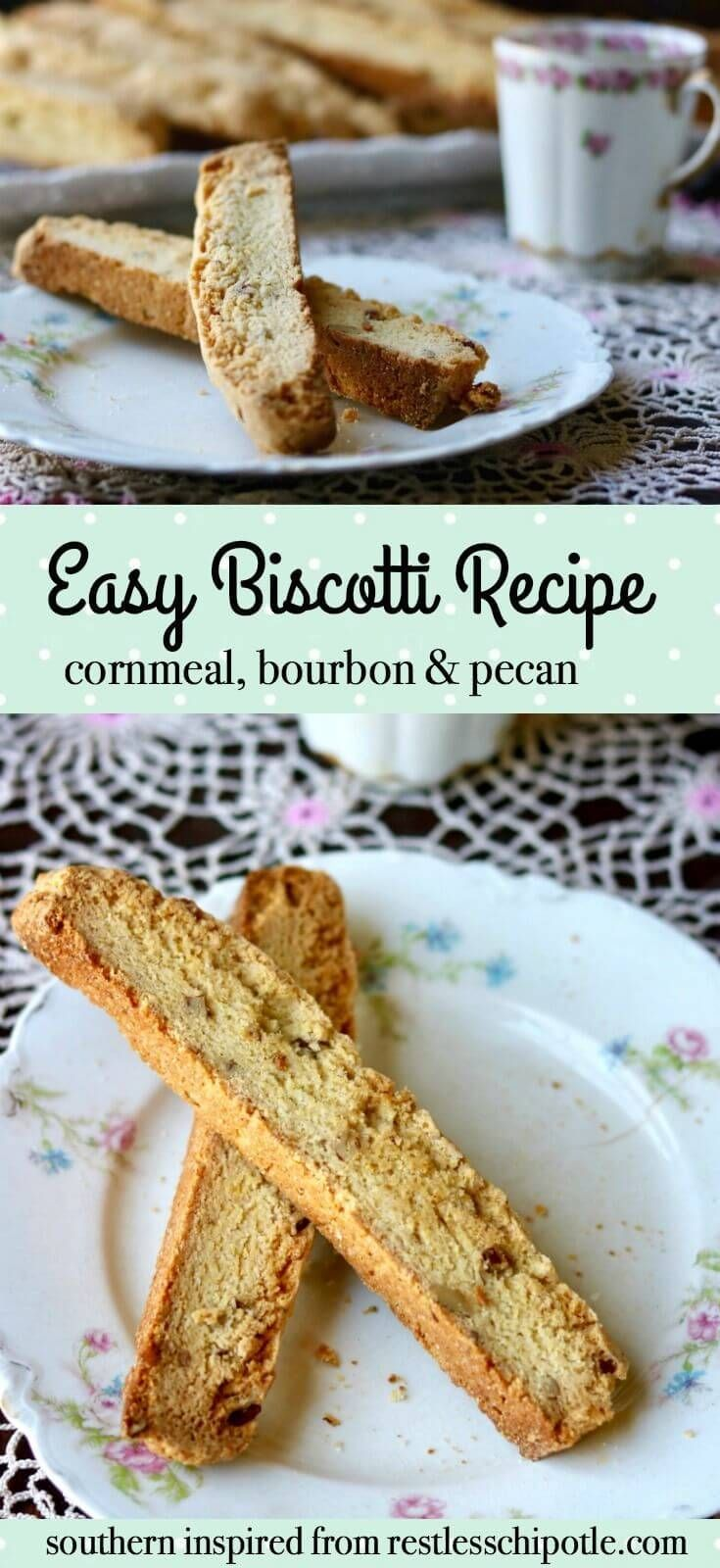 Unique easy biscotti recipe that never fails. SO good with nutty, sweet, buttery flavor. The cornmeal gives these cookies their delicious texture and flavor. From http://RestlessChipotle.com via @Marye at Restless Chipotle