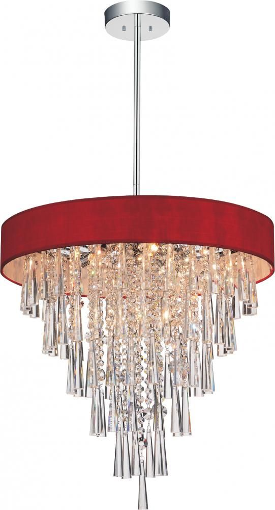 6 Light Chrome Drum Shade Chandelier from our Franca collection : 305ZZ9J | The Lighting Gallery