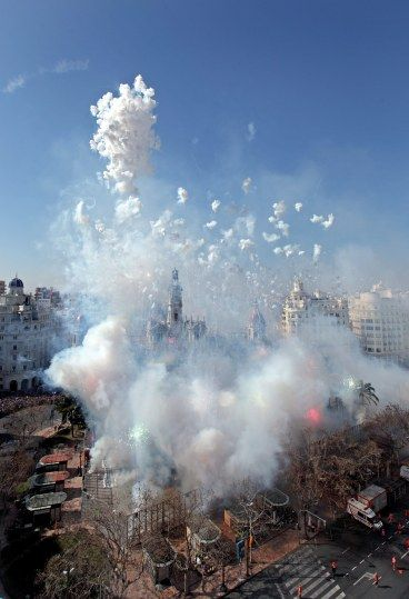 Mascletà, amazing fireworks, during Las Fallas. Valencia, Spain..