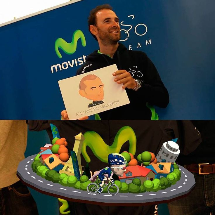 The cyclist Alejandro Valverde enjoying the #augmentedreality experience included in the official Movistar Team app.