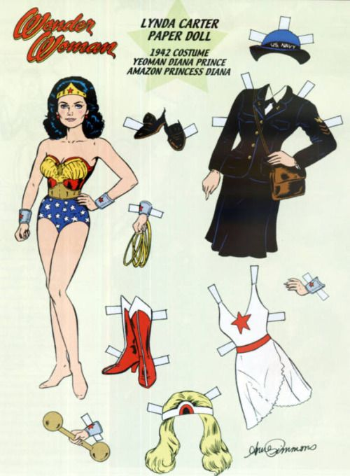 Lynda Carter as WONDER WOMAN Paper Doll by A. Simmons ¤¥¤ Costume from 1942 Fictional Character Yeoman Diana Prince [TV series Wonder Woman, she was a WAVES yeoman in the 1940s.] READ MORE https://en.wikipedia.org/wiki/Diana_Prince